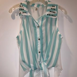 3 for $15 Blue and white striped tie knot blouse